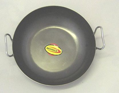 Black Iron Karahi 15cm (6″) With Stainless Steel Handle - Grey Background