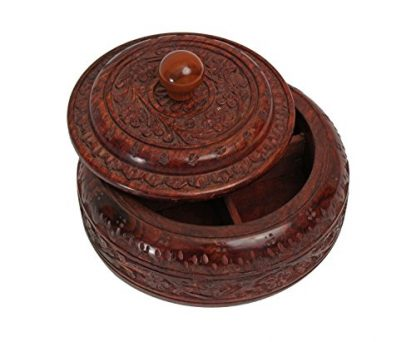 Rosewood Indian Spice Box - Lid Ajar