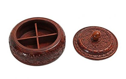 Rosewood Indian Spice Box - Lid Off
