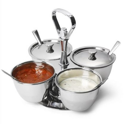 Stainless Steel Revolving Pickle & Chutney Server