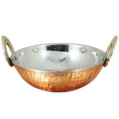 Hammered Copper & Stainless Steel Balti Dishes 13cm (5″) – Set Of 4 - Single Dish
