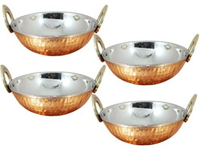 Hammered Copper & Stainless Steel Balti Dishes 13cm (5″) – Set Of 4