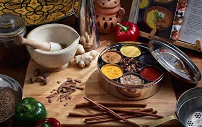 Stainless Steel Spice Box - With Spices on Counter Top