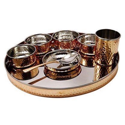 Copper Thali Set Serving Plate For 1