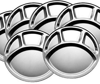 King International Stainless Steel Four Compartment Round Plate Thali 30cm