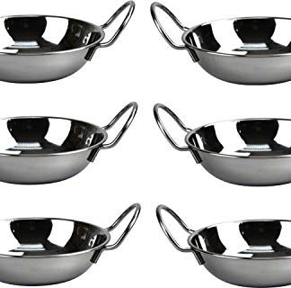 SET OF 6 STAINLESS STEEL 17CM BALTI DISHES