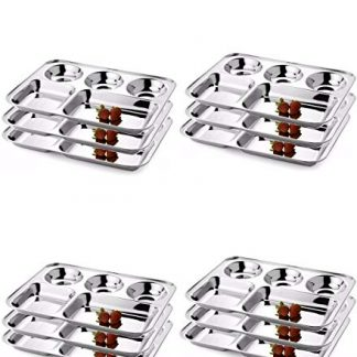 Whopper India Stainless Steel Five Compartment Round Plate Thali