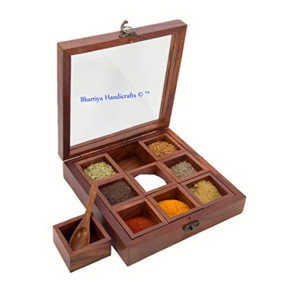 Wooden spice box 9 compartments